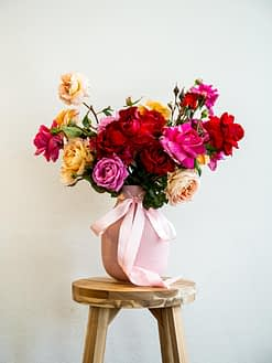 yellow and red roses arrangement